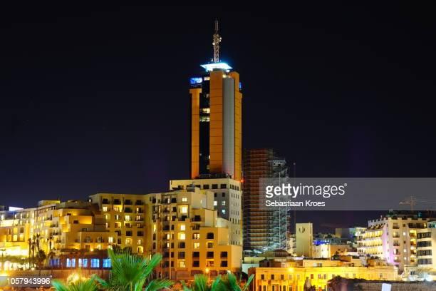 Long Exposure view on Portomaso Tower at night, St Julians, Malta