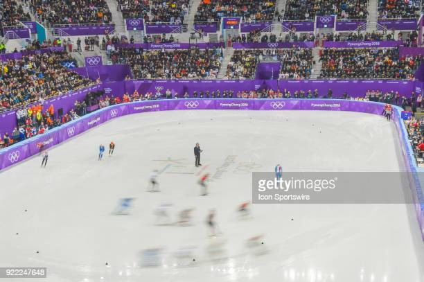 A long exposure wide view of the most exciting race of the night packed with action and the Republic of Korea eventually winning the Ladies' 3000M...