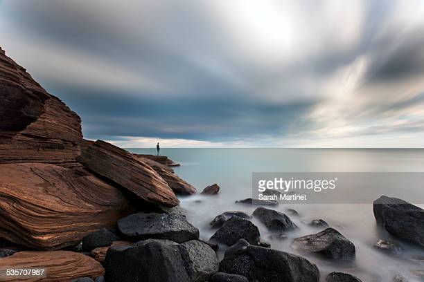 long exposure with human - cap d'agde stock photos and pictures