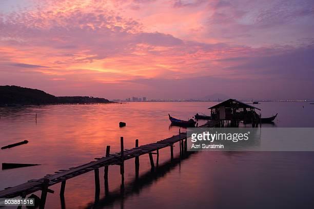 Long fisherman pier at Jelutong Penang, Malaysia