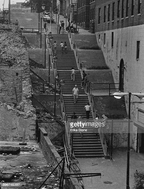 A long flight of steps in the South Bronx New York City circa 1975