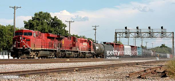 Long Freight Train in the City