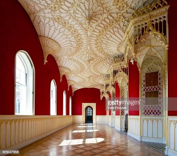 Long gallery. Strawberry Hill House, Twickenham, United Kingdom. Architect: Horace Walpole, 1747.