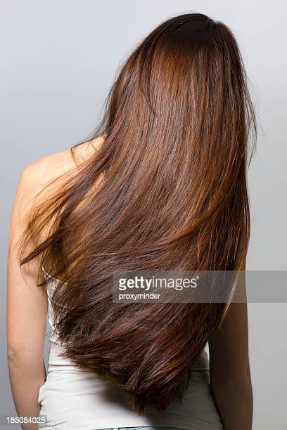 long hair from behind - brown hair stock pictures, royalty-free photos & images