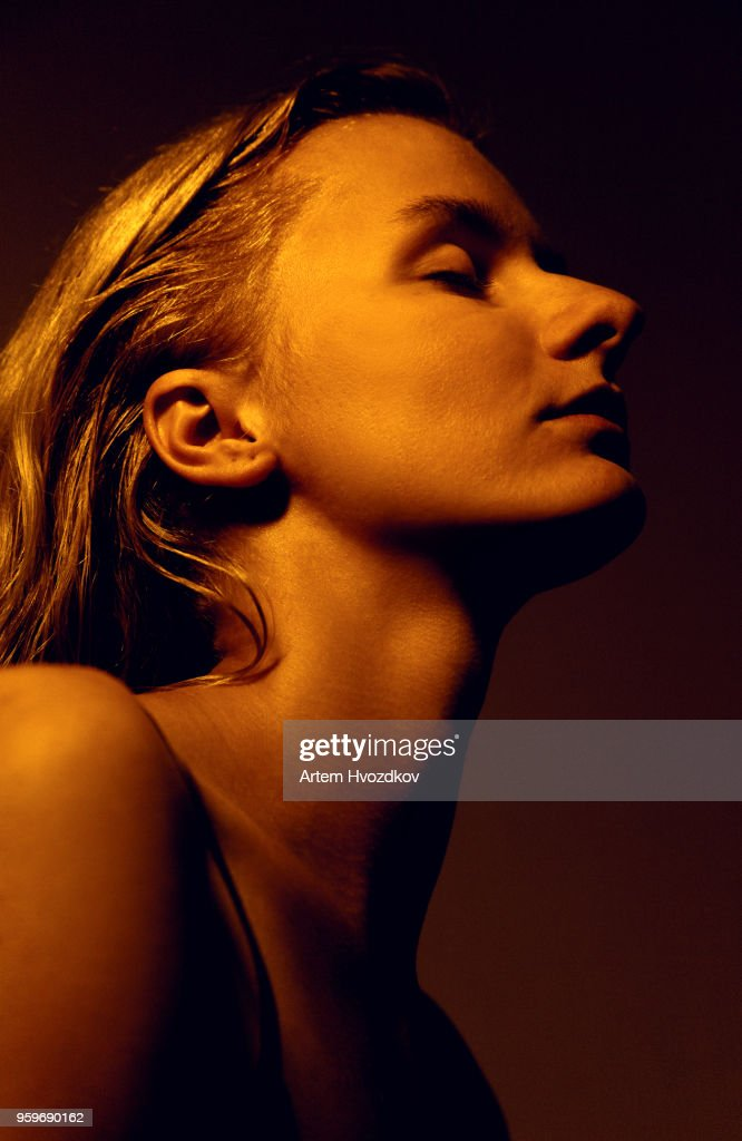 Long haired blond with closed eyes : Stock-Foto