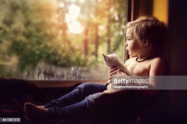 Long haired blonde boy sitting in window seat, holding kitten in his lap