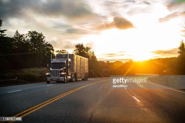 田舎のカナダの高速道路で長距離セミトラック - 大型トレーラー ストックフォトと画像
