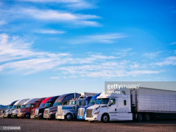 long haul semi trucks - american culture stock pictures, royalty-free photos & images