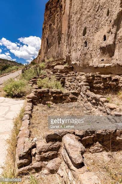 long house cliff dwellings at bandelier national monument - anasazi ruins stock pictures, royalty-free photos & images
