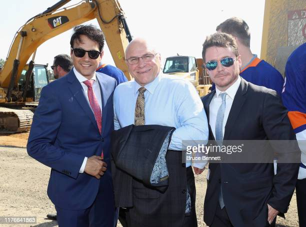 Long Island New York celebrities Ralph Macchio and Kevin Connelly flank New York Islanders head coach Barry Trotz at the groundbreaking ceremony for...