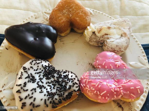 Five heart-shaped donuts available for a limited time for Valentine's Day from Dunkin' Donuts on Long Island, New York. Photo taken February 1, 2021.