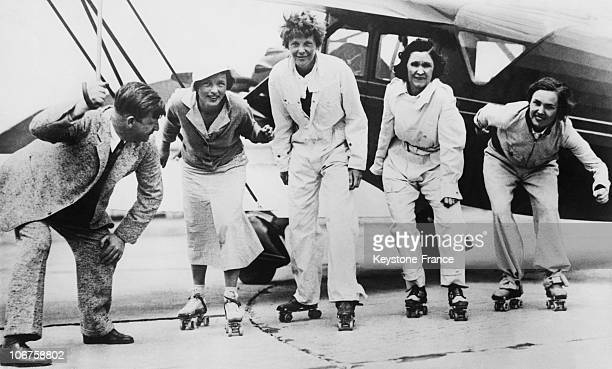 Long Island Roller Skating Race With Amelia Earhart Frances Mars Elvy Kalep And Betty Gillies In June 1933