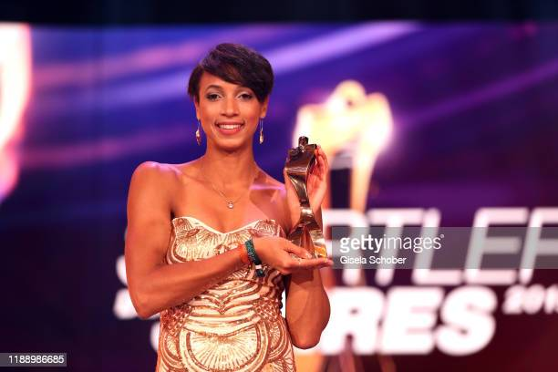Long jump gold medalist Malaika Mihambo with award during the 'Sportler des Jahres 2019' Gala at Kurhaus BadenBaden on December 15 2019 in BadenBaden...