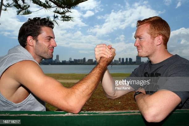 Long jump rivals Mitchell Watt of Australia and Greg Rutherford of England pose during a press conference at the Boatshed Restaurant on March 15,...