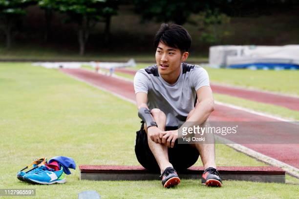 long jumper athlete of japan para athlete training in progress - 休憩中 ストックフォトと画像