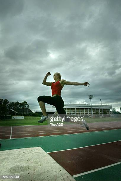 Long Jumper Bronwyn Thompson at the Queen Elizabeth II Jubilee Sporting Centre in Brisbane on 24 November 2005 THE AGE NEWS Picture by PAUL HARRIS