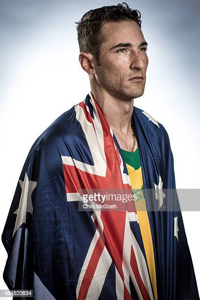 Long jumper Fabrice Lapierre of Australia poses for a portrait during a photo session at the Athletics Australia training camp on August 17 2015 in...