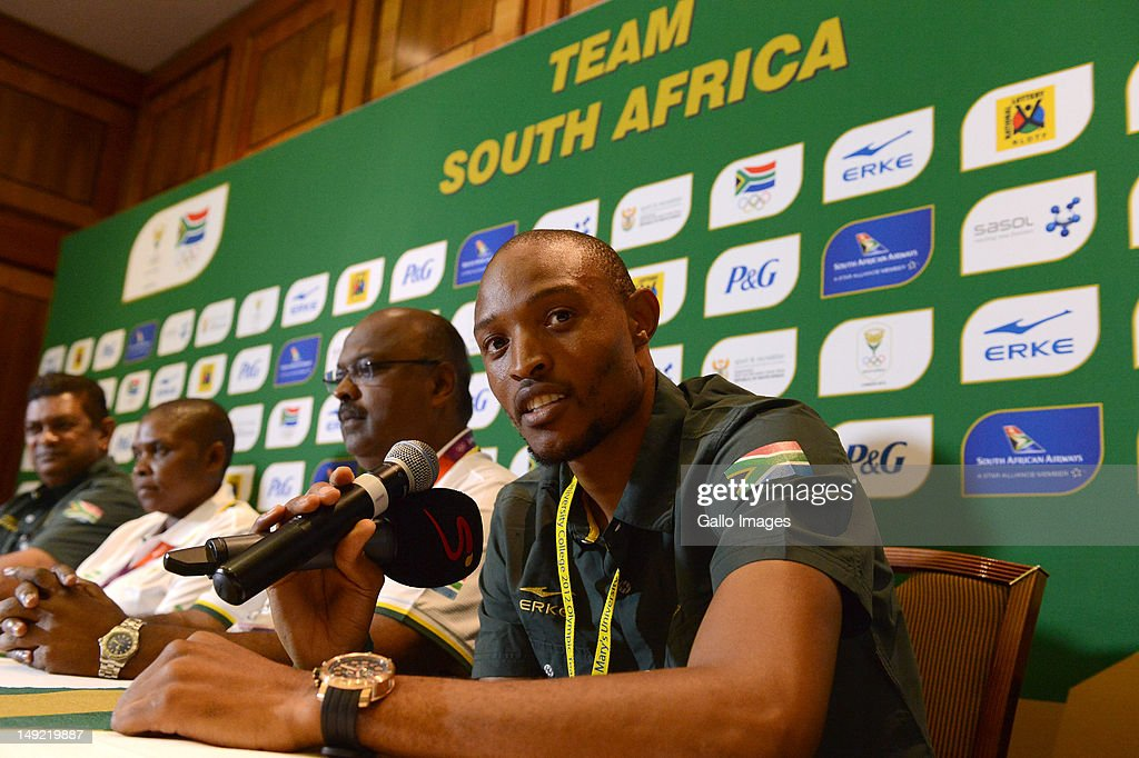 SA long jumper Khotso Mokoena during the South African Olympic Team Press Conference from Copthorne Tara Hotel, Kensington on July 25, 2012 in London, England.