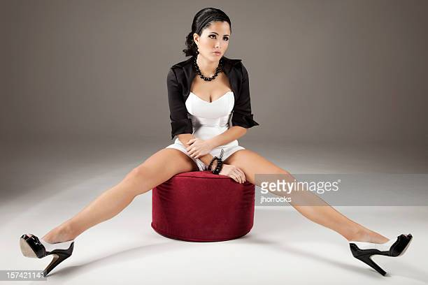 long legged beauty - legs spread woman stock photos and pictures