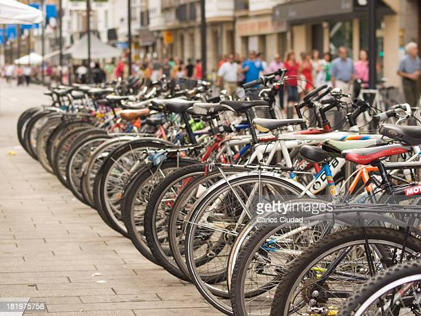 Long line of bicycles parked in the city center of VitoriaGasteiz during the celebration of 'Dia del Blusa y de la Neska' Vitoria was proclaimed...