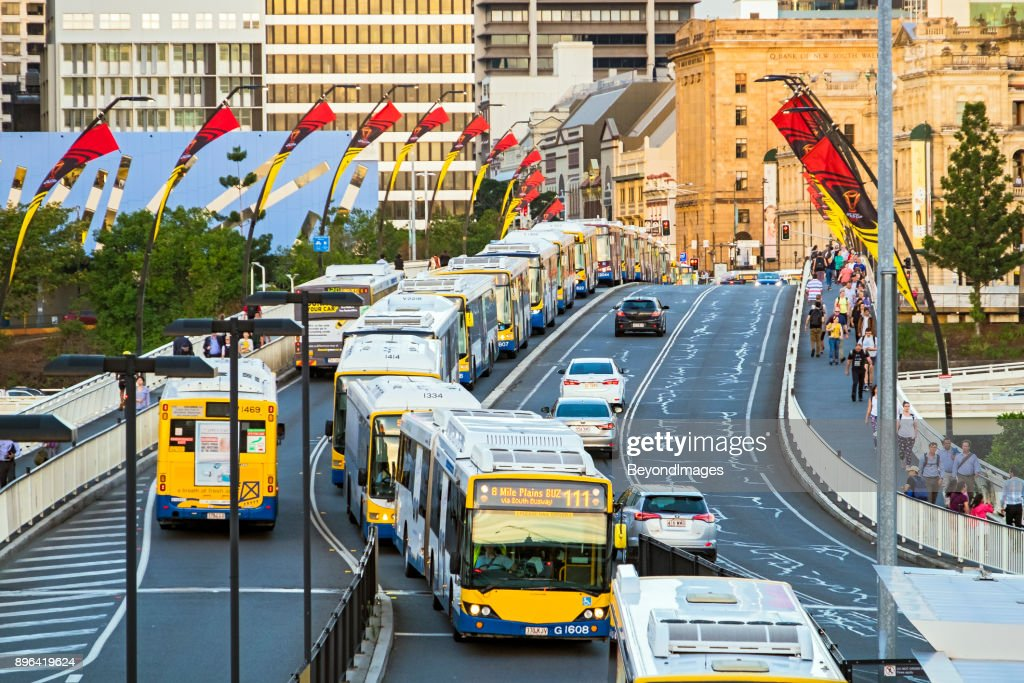 Long line of buses stopped on bridge in Brisbane, Queensland : Stock Photo