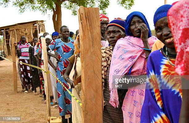 A long line of female voters cue to enter a polling center outside Terekeka southern Sudan April 11 2010 Next January Southerners are supposed to cue...