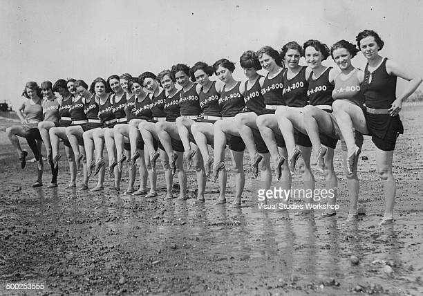 A long line of Peekaboo girls show off their moves on Revere Beach Revere Massachusetts early to mid 20th century