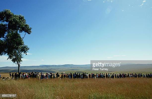 A long line of people waiting to vote in Nelson Mandela's native village of Transkei 1994 was the first time black South Africans were allowed to...