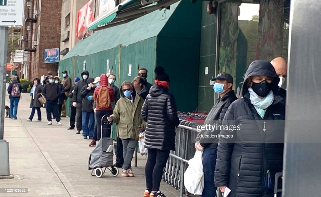 Long line of shoppers waiting to get into Grocery Store, Social Distancing, Rego Park, Queens : News Photo