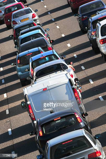 Long line of traffic in the summer