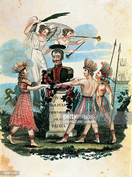Long live Bolivar Liberator of his country allegorical drawing SpanishAmerican wars of independence Venezuela 19th century