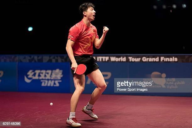 Long Ma of China celebrates a point on his way to win the Men's Singles Final match against Fan Zhendong of China during the Seamaster Qatar 2016...