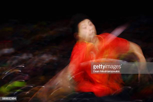 Long Ma of China celebrates in action against Saehyuk Joo of South Korea during the Table Tennis Men's Team Round Semi Final between China and South...