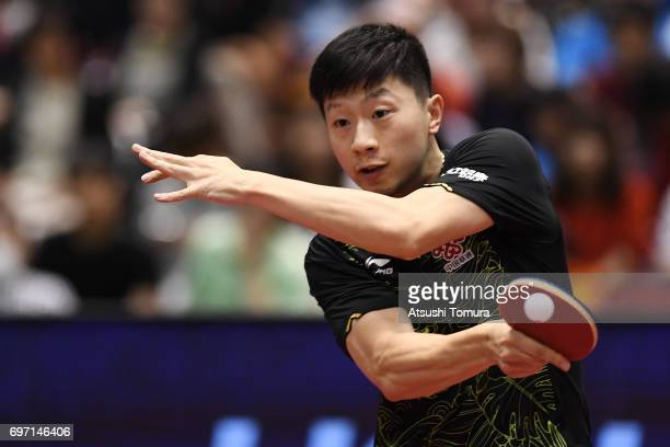 Long Ma of China competes during the men's singles final match against Zhendong Fan of China on the day 5 of the 2017 ITTF World Tour Platinum LION...