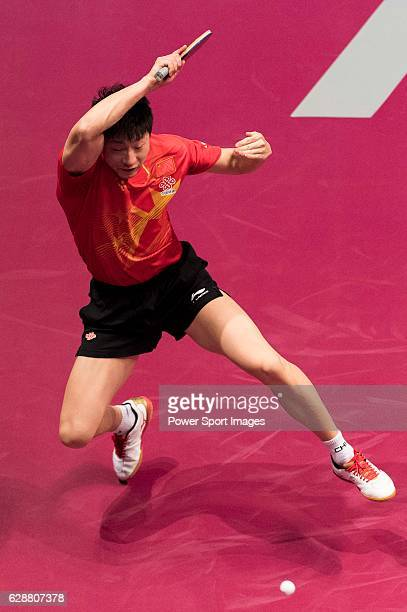 Long Ma of China in action against Wong Chun Ting of Hong Kong in their Men Singles Quarter Fiinal match during the Seamaster Qatar 2016 ITTF World...