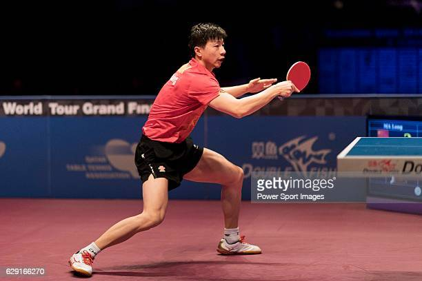 Long Ma of China in action on his way to win the Men's Singles Final match against Fan Zhendong of China during the Seamaster Qatar 2016 ITTF World...