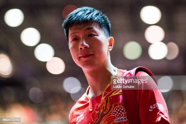 Long Ma of China leaves the pitch after Men Single 1. Round at Table Tennis World Championship at Messe Duesseldorf on May 30, 2017 in Dusseldorf,...