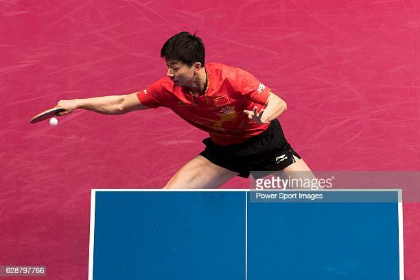 Long Ma of China vs Wong Chun Ting of Hong Kong in their Men Singles Quarter Fiinal match during the Seamaster Qatar 2016 ITTF World Tour Grand...