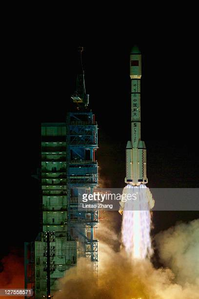 Long March 2F rocket carrying the country's first space laboratory module Tiangong1 lifts off from the Jiuquan Satellite Launch Center on September...