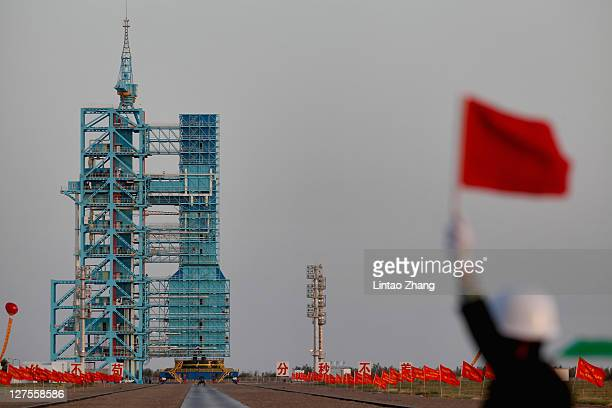 Long March 2F rocket carrying the country's first space laboratory module Tiangong1 prepares to lift off from the Jiuquan Satellite Launch Center on...