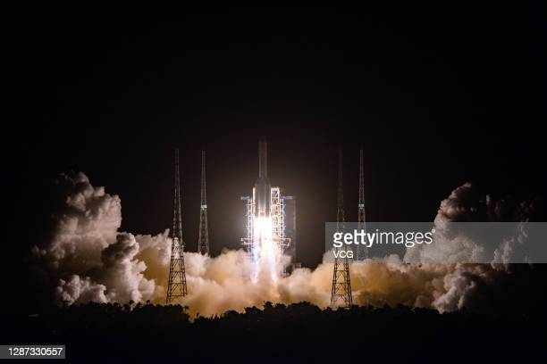Long March-5 rocket carrying Chang'e-5 spacecraft blasts off from Wenchang Spacecraft Launch Site on November 24, 2020 in Wenchang, Hainan Province...