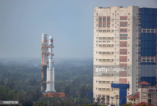 Long March-7A Y2 carrier rocket is pictured at Wenchang Spacecraft Launch Site on March 8, 2021 in Wenchang, Hainan Province of China.