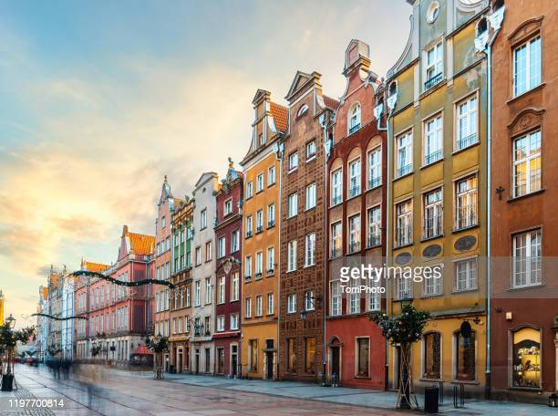 long market square (dlugi targ) with colorful buildingsin the old town of gdansk at winter, poland - gdansk stock pictures, royalty-free photos & images