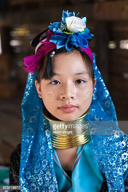 long neck padaung karen tribe girls - traditional clothing stock pictures, royalty-free photos & images