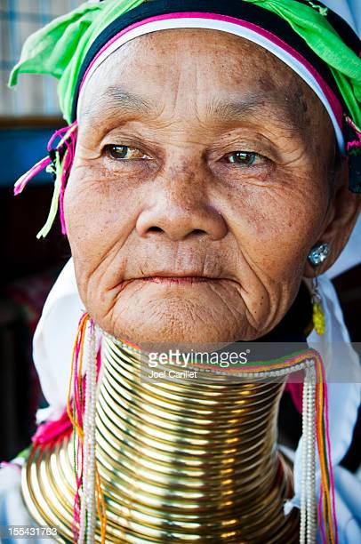 long neck woman portrait at inle lake, myanmar - myanmar culture stock photos and pictures
