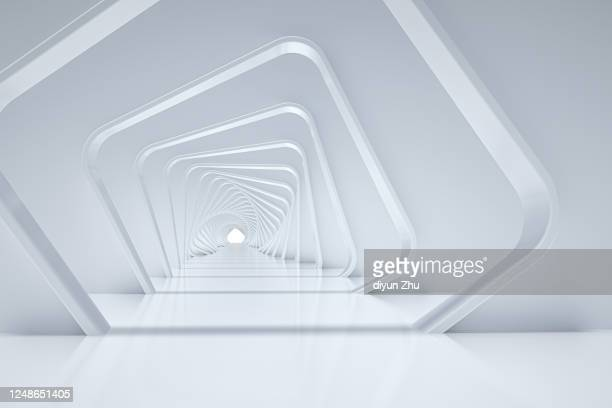 long passage in modern building by 3d render - 門 ストックフォトと画像