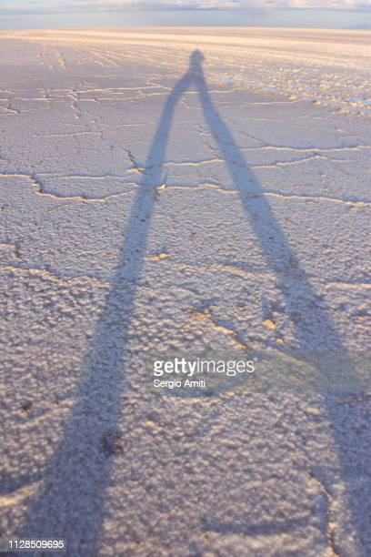 Long photographer shadow at Uyuni Salt Flats