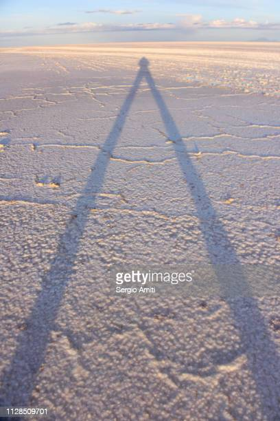 Long photographer shadow at Uyuni Salt Flats