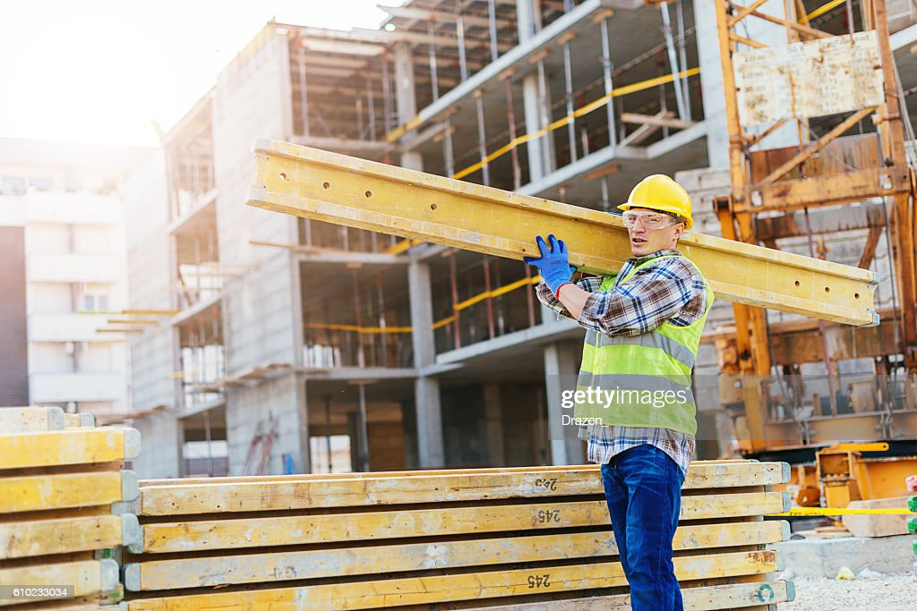 Long plank support for concrete and armature : Stock Photo