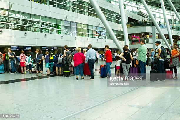 Long queue at check-in